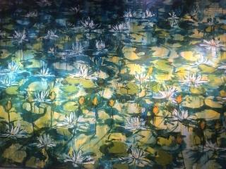 """""""Lekníny"""", olej na plátně, 100×150, 95.000 Kč"""