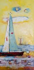 """""""Žlutý den"""", olej na plátně, 50x100, 40.500 Kč"""