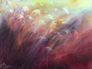 """""""Zalité sluncem"""", olej na plátně, 90×90, 17.000 Kč"""