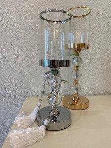 Svícen stříbrný, kov a sklo, 35 cm, 1.250,- / Svícen zlatý, kov a sklo, 41 cm, 1.400,-