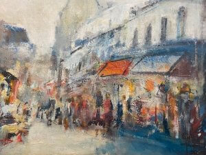 """Montmarte - Galerie"", olej, 45x63, 18.000 Kč"