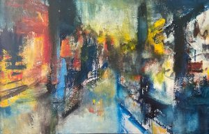 """Ulice v Paříži"", olej, 75x115, 35.000 Kč"