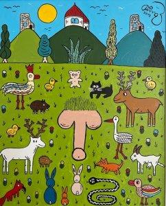 """""""Zvířátka obdivují obra"""",olej na plátně, 45.000 Kč"""