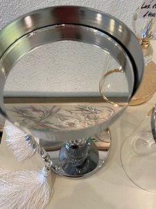 Svícen stříbrný, kov a sklo, 35 cm, 1.250,-