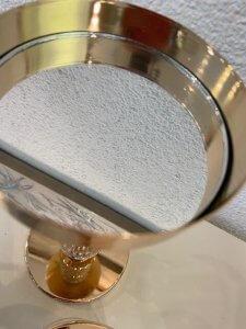 Svícen zlatý, kov a sklo, 41 cm, 1.400,-