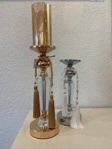 Svícen zlatý, kov a sklo, v. 34 cm, 1.600,-