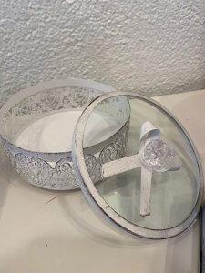 Kulatá krabička na vaše poklady, sklo a kov, ⌀ 15 cm, v. 8 cm, 640,-