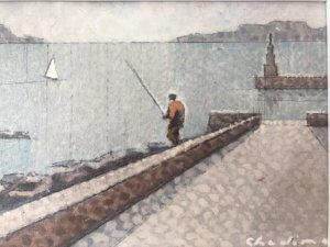 """""""Rybáři"""", tempera, 15×21, 5.800 Kč"""
