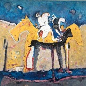 """""""Tajná jízda"""", olej na plátně, 100×100, 59.000 Kč"""
