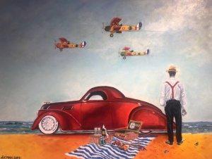 """""""Piknik na pláži"""", olej na plátně, 14.000 Kč"""