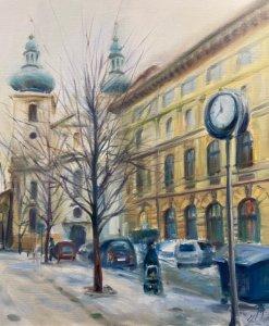 """""""Praha- Havelská"""", olej na plátně, 60x70, 13.000 Kč"""