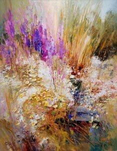 """""""Květinová imprese"""", olej na plátně, 81x65, 29.000,- (obraz je v Polsku, možnost zaslání)"""
