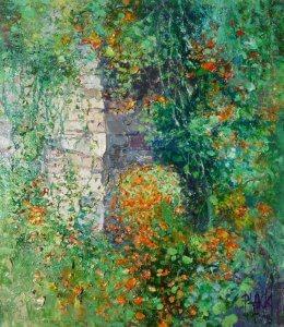 """""""Květinová zídka"""", olej na plátně, 33x30, 10.400,- (vystaveno v galerii)"""