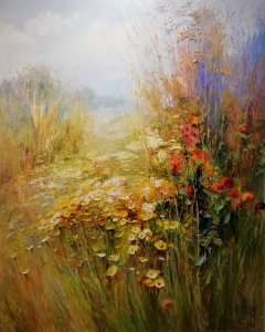"""""""Louka s květy"""", olej na plátně, 81x65, 29.500,- (obraz je v Polsku, možnost zaslání)"""